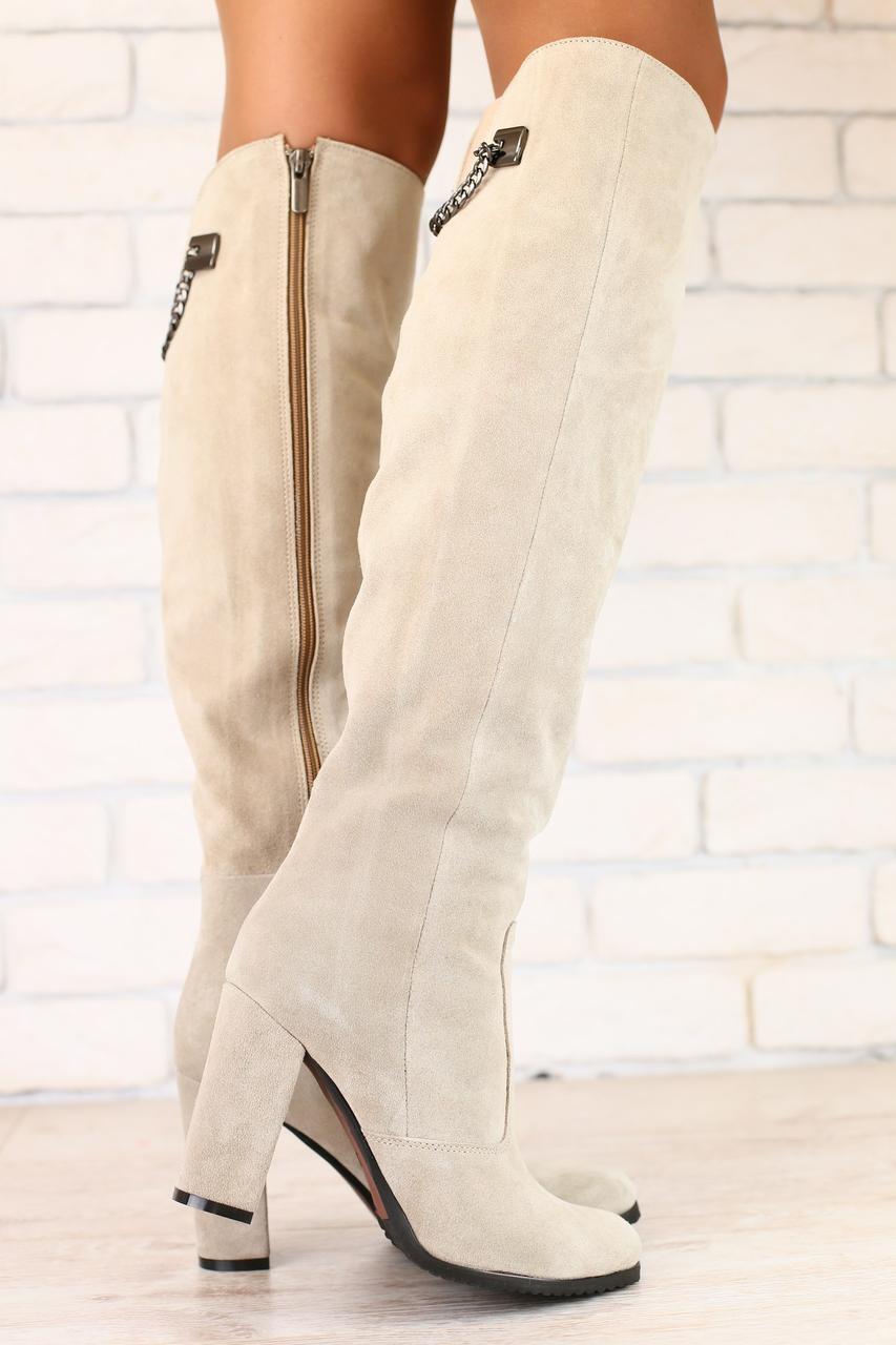 e4a9678a6 Женские бежевые сапоги ботфорты на каблуке натуральная замша - ГЛЯНЕЦ |  Интернет-магазин КОЖАНОЙ обуви