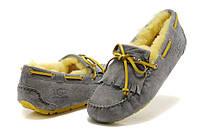 Женские зимние мокасины UGG Australia Mandie Grey (Угги Австралия) с натуральным мехом серые