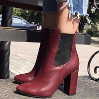 Ботинки женские на каблуке из кожи и замши осень/зима разные цвета 0032АВК