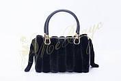 Кожаная сумка черная с мехом норки