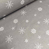 Польская бязь серого цвета с белыми снежинками № 775