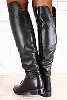 Женские зимние черные сапоги ботфорты натуральная кожа низкий ход
