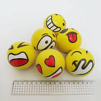 """Мяч резиновый мягкий """"Смайлы желтые"""" 6,3см, mix"""
