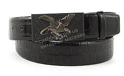 Оригинальный мужской ремень под джинсы с большой бляхой и полосой под рептилию art. (101467) черный