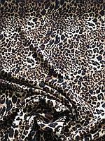Стеганный трикотаж принт леопард