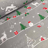Новогодняя ткань с домиками и ёлками на сером фоне №777