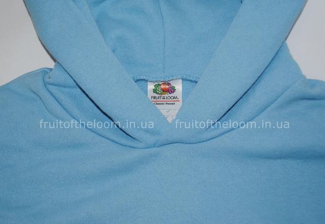 Небесно-голубая  детская классическая толстовка с капюшоном