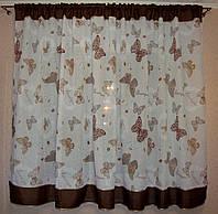 """Готовые шторы в детскую короткие """"Бабочки"""" лен 3 м, коричневый, фото 1"""