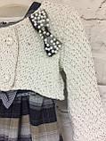 Комплект плаття і болеро для дівчаток в клітинку під поясок., фото 2