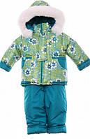 Детский зимний костюм на овчине-подстежке (от 6 до 18 месяцев) зеленый в звездочку