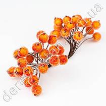 Ягоды калины в сахаре для декора, оранжевые, веточка 40 шт.