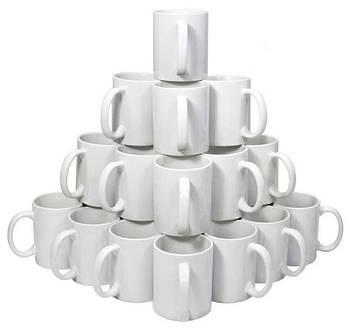 Чашка керамичная біла для сублімації De Lux, 330 мл