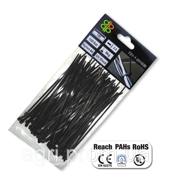 Стяжки кабельные пластиковые чёрные UV Black 4,6*160мм (100шт)