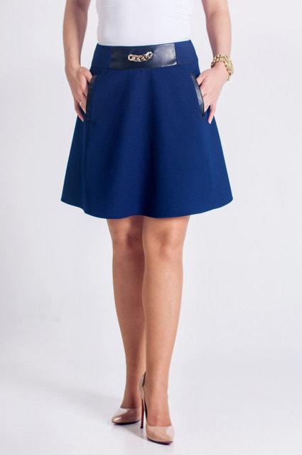 Стильная элегантная юбка-колокол с кожаными вставками