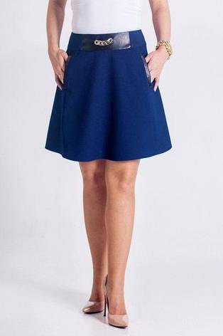 Стильная элегантная юбка-колокол с кожаными вставками, фото 2