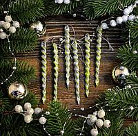 Новогоднее украшение Сосулька микс 6шт  0134