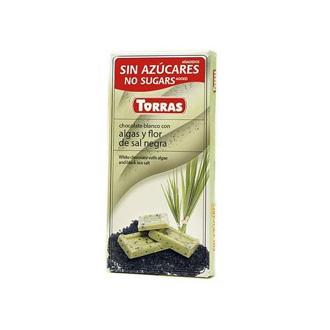 Шоколад белый Torras Algas Y Flor De Sal Negra, 75 г (Испания), фото 2