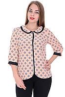 Блуза Софта 02 Бежевая цветочек