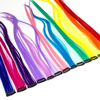 Прядь искусственных цветных волос на заколке 55 см