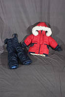 Детский зимний костюм на овчине-подстежке (от 6 до 18 месяцев) красный