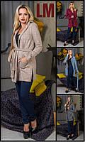 Кардиган р M L XL XXL осенний весенний деловой больших размеров женский батал из ангоры с капюшоном спортивный
