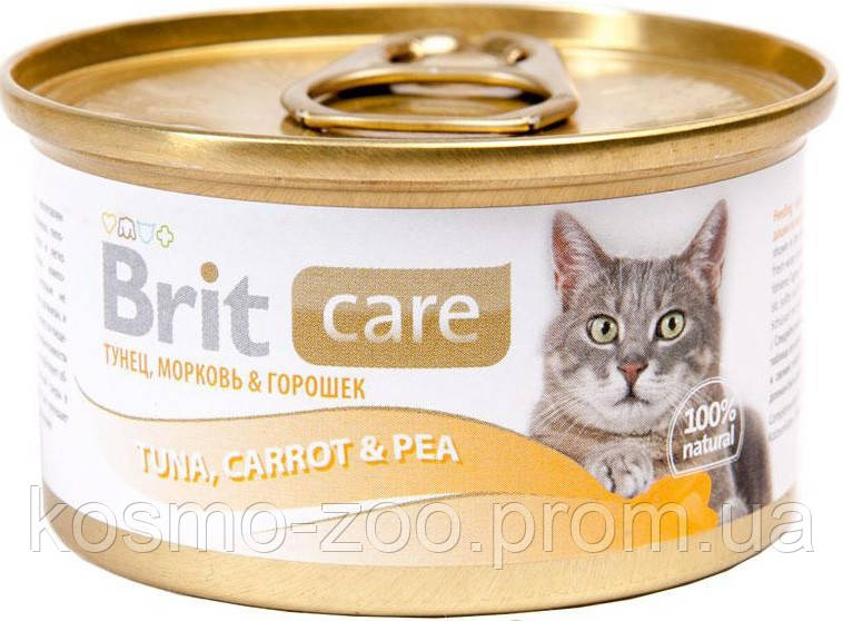 Консервы для кошек Брит кеа (Brit Care Cat Tuna, Carrot & Pea), тунец, морковь и горошек , 80 гр