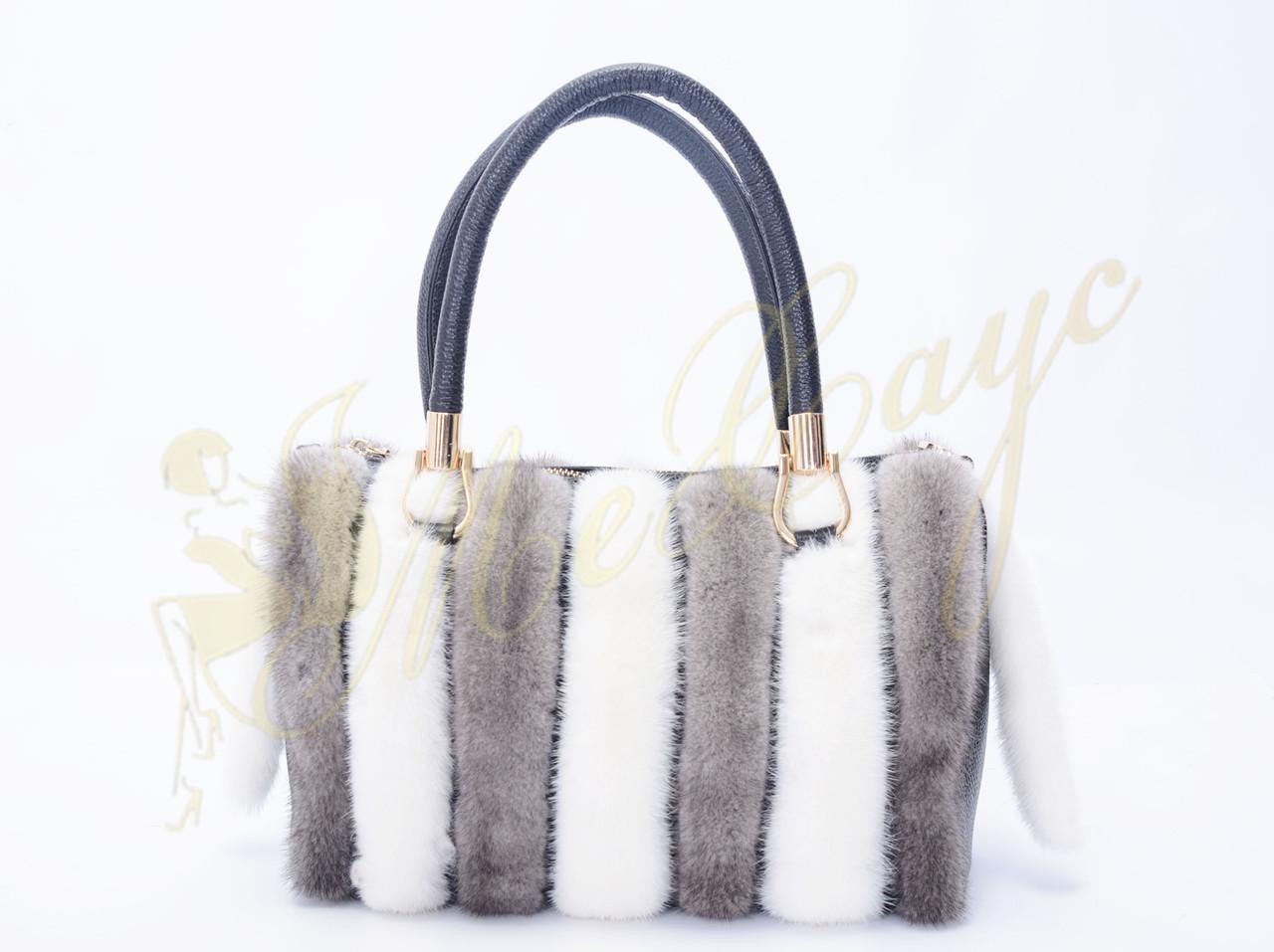Кожаная сумка серая с белым из меха норки
