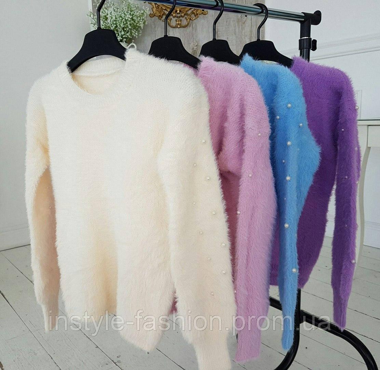 5ce7a5192db Женский пушистый теплый свитер ангора с жемчугом выбор цветов ...