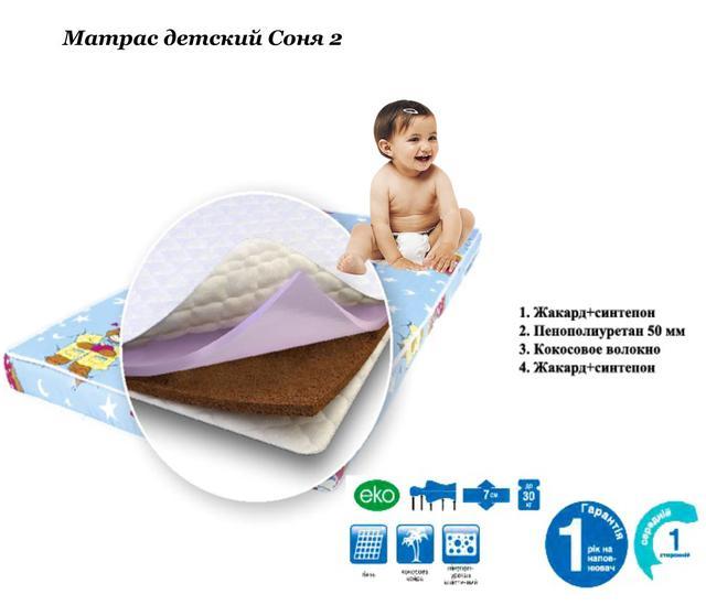 Матрас детский Соня 2 (Нагрузка на одно спальное место-30 кг).  Наполнение: Жакард + синтепон