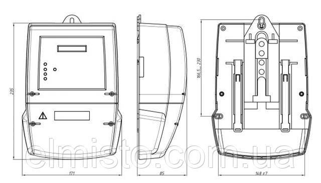 Габаритный чертеж электросчетчика Энергомера CE 303-U AR S351 543-JAVZ