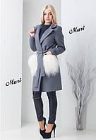 Пальто женское турецкий кашемир на подкладке на карманах натуральный мех - лама три цвета