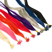 Цветная прядь натуральных волос на кератиновой капсуле для наращивания, фото 1