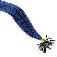 Цветная прядь натуральных волос на кератиновой капсуле для наращивания синяя
