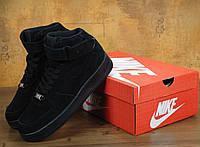 Зимние кроссовки Nike Air Force 1 High черные с мехом