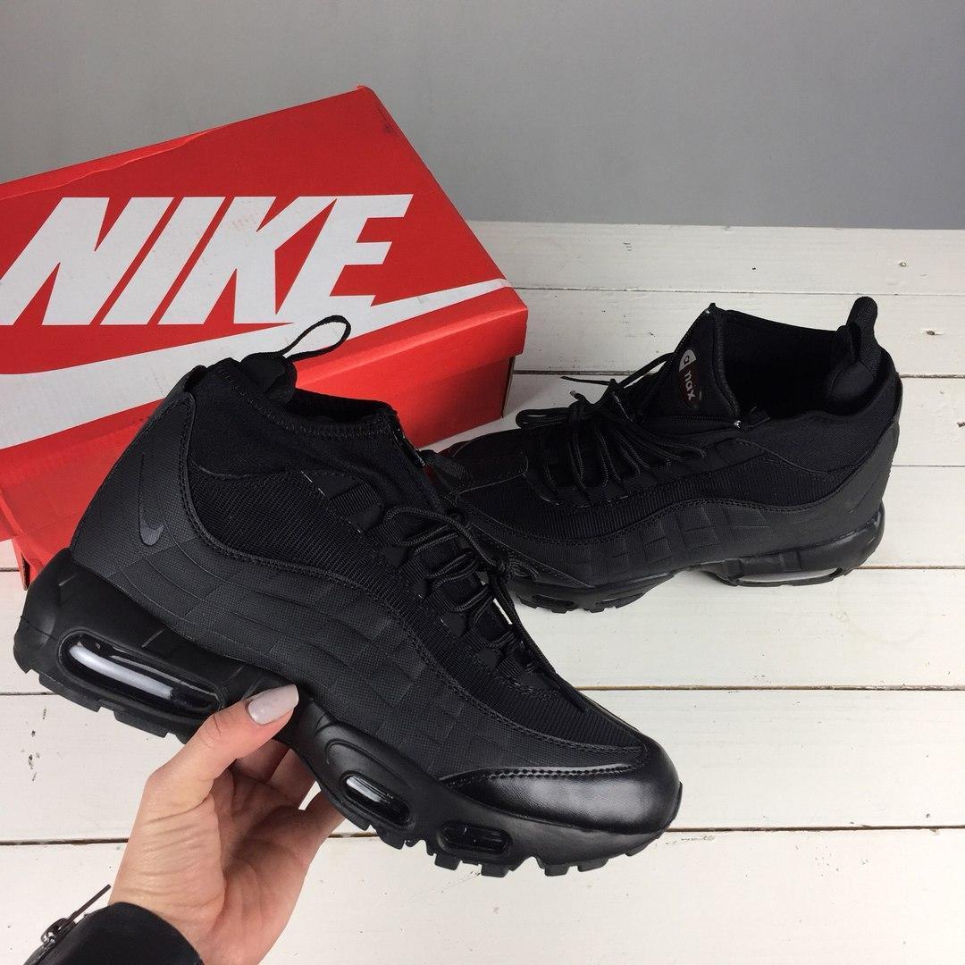 Зимние кроссовки Nike Air Max Sneakerboot 95 black утепленные. Живое фото!  (Реплика ААА dc375ea9416
