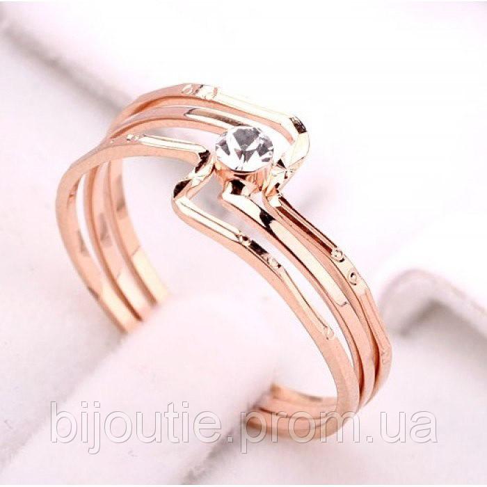Кольцо ювелирная бижутерия золото 18к 750 проба кристаллы Swarovski
