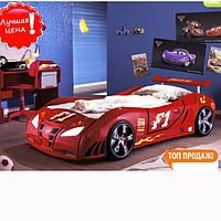"""Кровать машина в виде автомобиля """"Extra turbo power F1"""" (красный, свет+звуки)"""