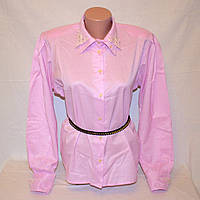 Блузка розово-сиреневая с воротником и манжетом ришелье,  р.46