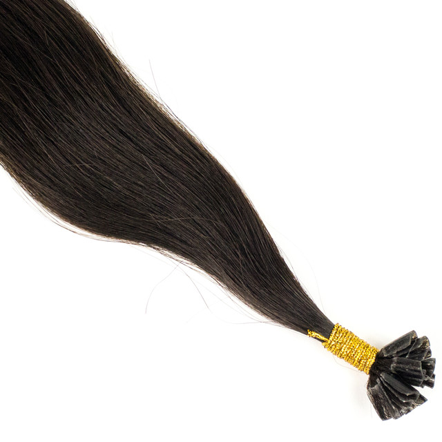 Цветная прядь натуральных волос на кератиновой капсуле для наращивания брюнет
