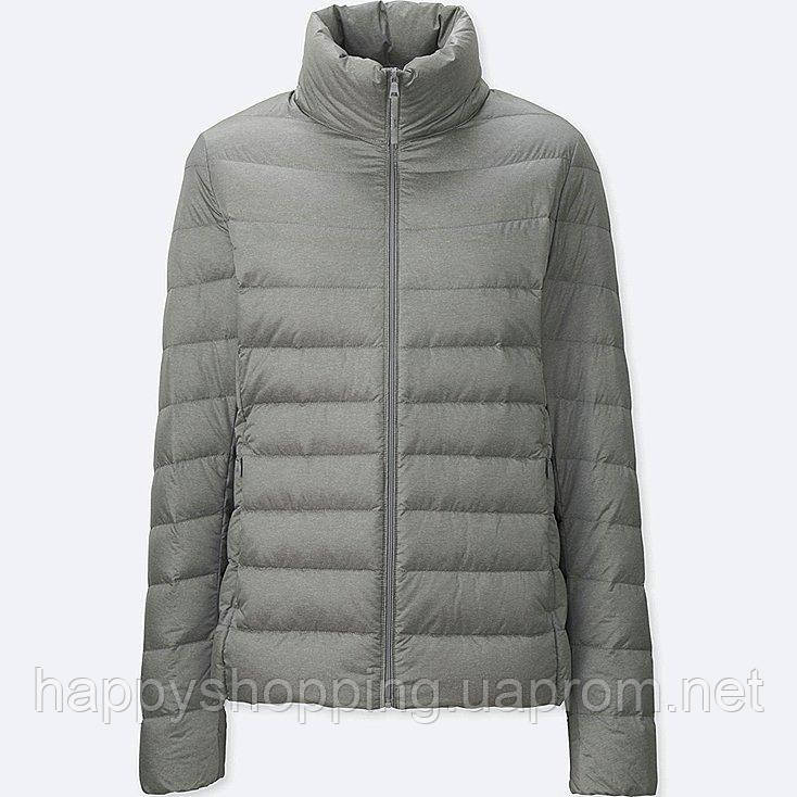 Женская серая легкая куртка на пуху осень/весна японский бренд Uniqlo (пакуется в мешочек)
