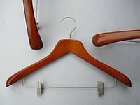 Плечики вешалки деревянные коричневого цвета широкие , 44,5 см