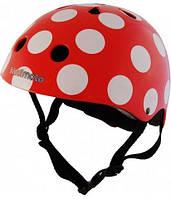 Шлем детский KiddiMoto красный в белый горошек (размер S)
