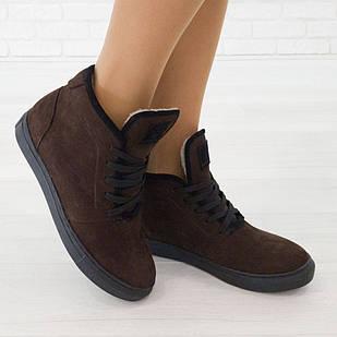 Ботинки женские нубук коричневые 38 размер с мехом маломерные Woman's heel на полиуретановой подошве