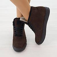 Ботинки из нубука с мехом коричневый