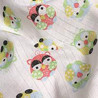 Муслин разноцветные совы на белом № 2-9
