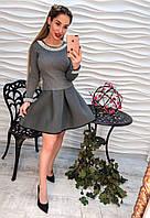 Вязаное платье с пышной юбкой 7082 42-48р серый