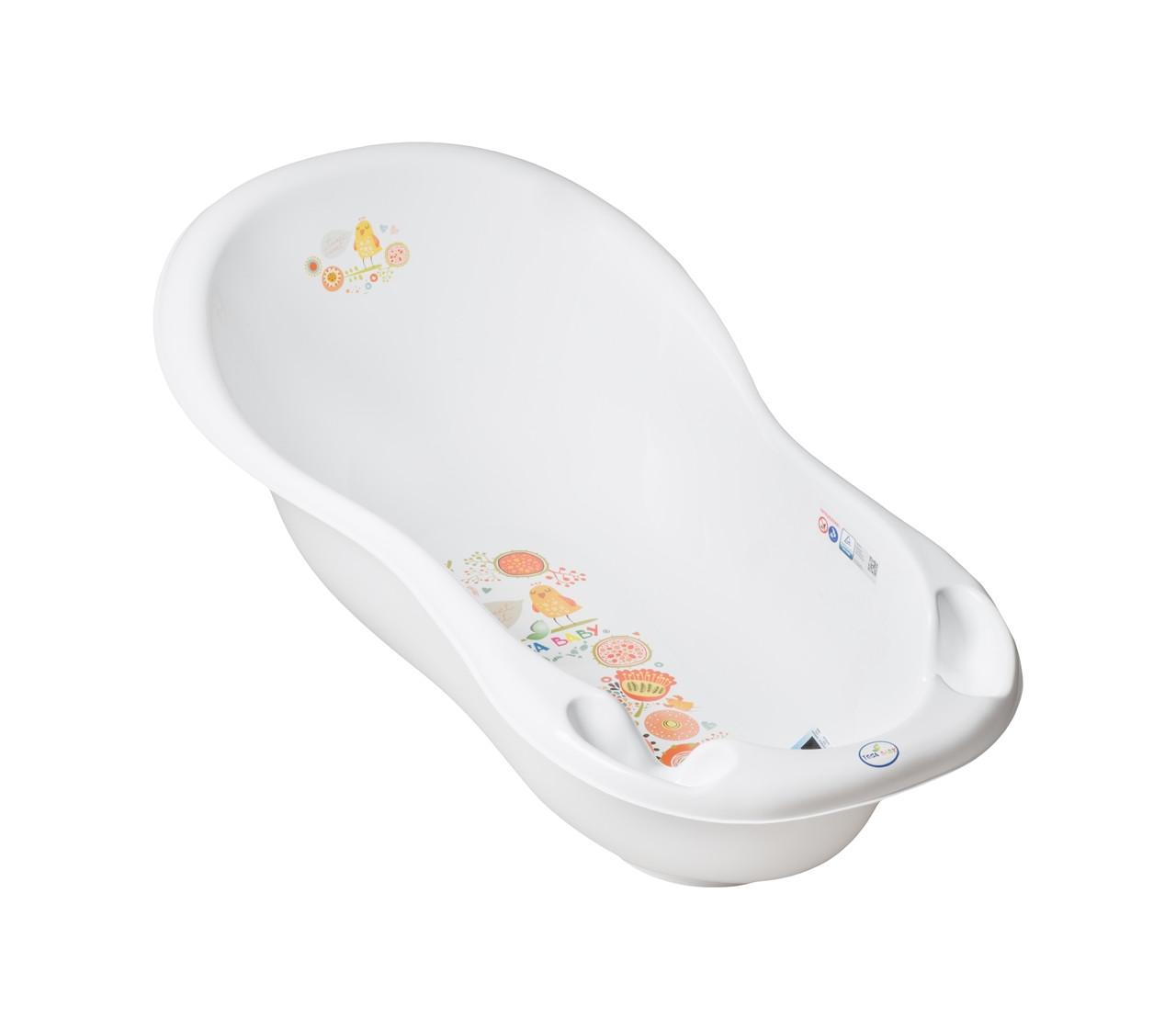 Ванночка Tega Baby Folk Lux FL-005 со сливом и термодатчиком белая