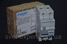 Дифференциальный автомат Hager AС966J 1P+N 6kA C-16 10mA A