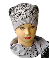 Комплект вязаный шапка и шарф Lion шерсть натуральная цвет джинсовый серый
