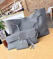 Женская сумка большая, маленькая сумочка, клатч и визитница набор темно-серый